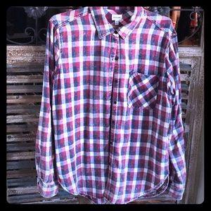 Plaid button down shirt. NWOTS